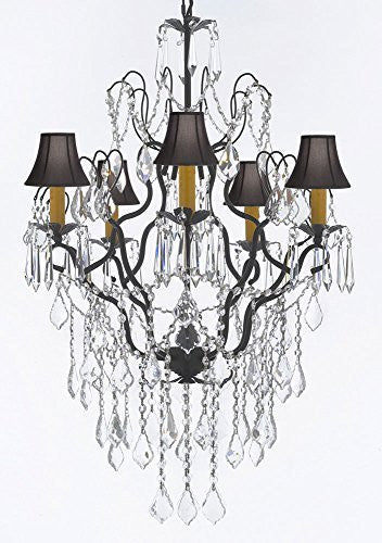 "Wrought Iron Empress Crystal (Tm) Chandelier Lighting H32"" X W21"" With Black Shades - J10-B12/Sc/Blackshades/26034/5"