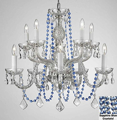 "Authentic All Crystal Chandelier Chandeliers Lighting With Sapphire Blue Crystals Perfect For Living Room Dining Room Kitchen Kid'S Bedroom H25"" W24"" - G46-B82/Cs/1122/5+5"