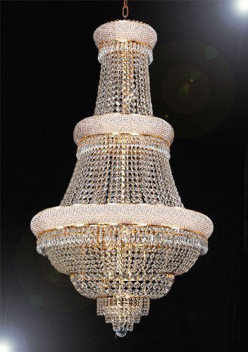 "French Empire Crystal Chandelier Lighting H 50"" X W 30"" - Perfect For An Entryway Or Foyer Dressed With High Quality Diamond Cut Crystal - A93-B59/Gold/448/21"