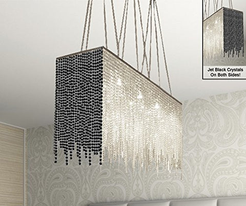 "10 Light Modern / Contemporary Dining Room Chandelier Rectangular Chandeliers Lighting Dressed With Jet Black Crystal 28"" X 36"" - G902-B87/1114/10"