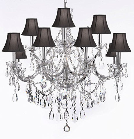 "Maria Theresa Chandelier Lighting Crystal Chandeliers H30 ""X W28"" Trimmed With Spectra (Tm) Crystal - Reliable Crystal Quality By Swarovski Chrome Finish With Shades - J10-Sc/Black/Chrome/26049/12+1Sw"
