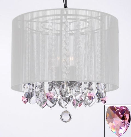 "Crystal Chandelier With Large White Shade And Pink Crystal Hearts H15"" X W15"" - Perfect For Kids' And Girls Bedrooms - G7-B21/White/26028/3"