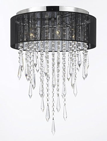 Flushmount 4-Light Chrome And Black Shade Empress Crystal (Tm) Chandelier Lighting - G7-B27/3/Black/2130/4