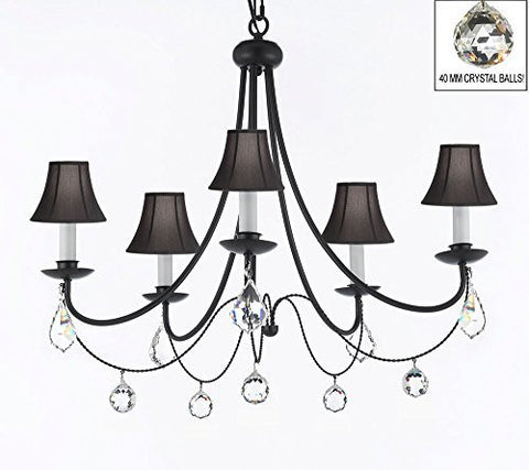 "Empress Crystal (Tm) Wrought Iron Chandelier Lighting H.22.5"" X W.26"" With Black Shades And Crystal Balls - J10-Sc/Blackshades/B7/B6/26031/5"