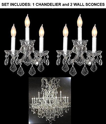 "Set Of 3 - 1 Maria Theresa Crystalchandeliers Lighting H 35"" W 28"" And 2 Wall Sconce Crystal Lighting H14"" x W11.5"" Trimmed With Spectra (Tm) Crystal - Reliable Crystal Quality By Swarovski - 1Ea-Cs/52/21532/12+1 + 2Ea-Cs/3/2813-Sw"