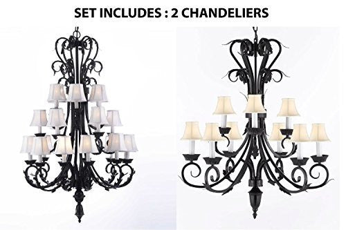 "Set Of 2 - 1-Large Foyer Entryway Wrought Iron Chandelier H50"" X W30"" W/ White Shades And Wrought Iron Chandelier Lighting With White Shades H 30"" W 26"" 9 Lights - 1Ea-Sc/724/24+1Ea-Sc/724/6+3-Whtshd-B"