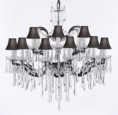 "Nineteenth C. Rococo Iron & Empress Crystal (Tm) Chandelier Lighting Crystal Icicles H 28"" X W 30"" With Black Shades - G83-Blackshades/B27/995/18"