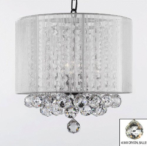 "Crystal Chandelier With Large White Shade & Balls H15"" X W15"" - G7-B6/White/Sm/26028/3"