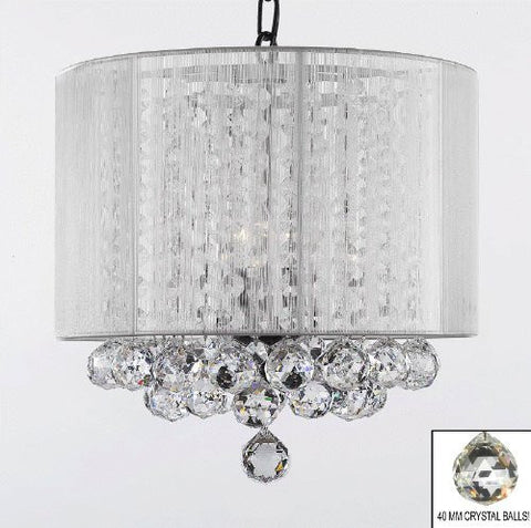 "Crystal Chandelier With Large White Shade & Balls H15"" X W15"" - G7-B6/White/Sm/604/3"