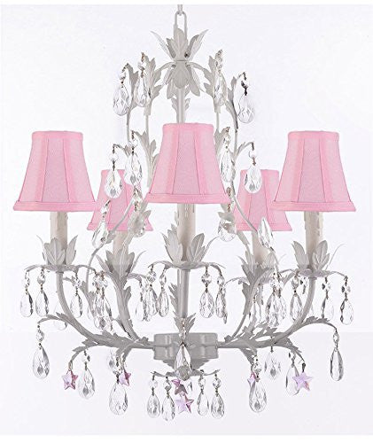 White Wrought Iron Floral Chandelier Lighting W/ Pink Stars And Shades - J10-Sc/Pinkshade/B38/White/26016/5