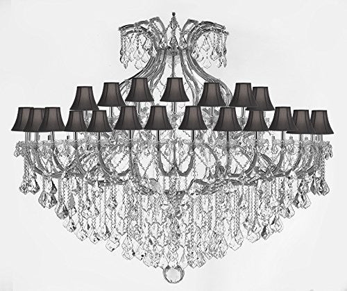 "Maria Theresa Empress Crystal (Tm) Chandelier Lighting H 60"" W 72"" With Black Shades - Cjd-Sc-Cs/2181/72"
