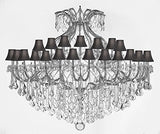 "Maria Theresa Crystal Chandelier With Shades H 60"" W 72"" Trimmed With Spectratm Crystal - Reliable Crystal Quality By Swarovski - Cjd-Sc/Blackshade/Cs/2181/72Sw"