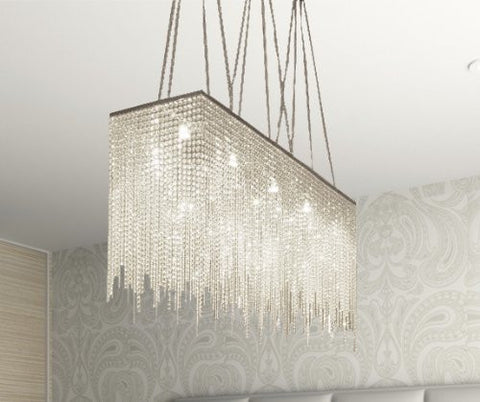 "Ten Light Modern / Contemporary Dining Room Chandelier Rectangular Chandeliers Lighting Dressed With High Quality Crystal! 28"" X 36"" - G902-1114/10"