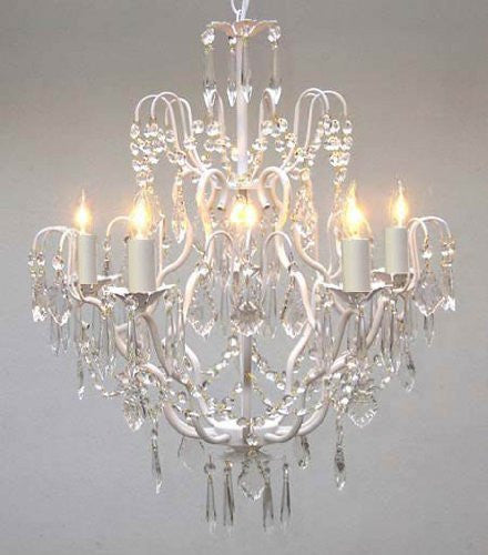 White Wrought Iron Crystal Chandelier Lighting H27 Quot X W21
