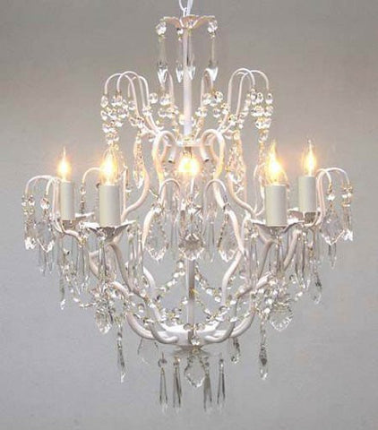 "White Wrought Iron Crystal Chandelier Lighting H27"" X W21"" - Go-A7-White/C/3033/5"
