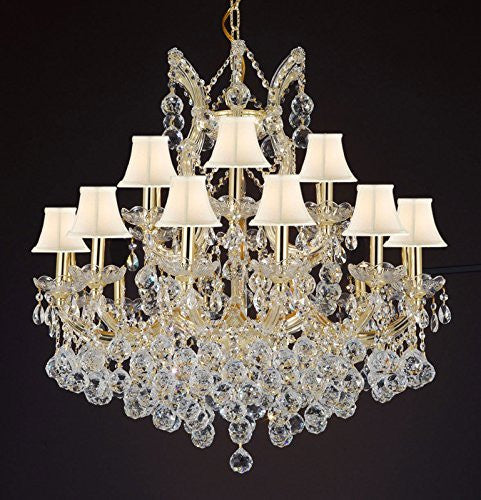 "Maria Theresa Empress Crystal(Tm) Chandelier Lighting With White Shades H 28"" W 30"" - Cjd-B6/Cg/Sc/2181/30"