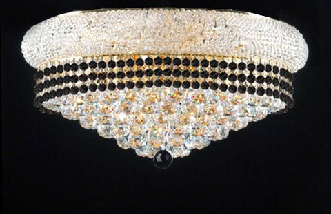 "Flush French Empire Crystal Chandelier Lighting Trimmed With Jet Black Crystal Good For Dining Room Foyer Entryway Family Room And More H15"" X W24"" - F93-B79/Flush/542/15"