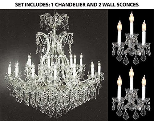 "Set Of 3 - 1 Maria Theresa Empress Crystal (Tm) Chandelier Lighting H 52"" W 46"" And 2 Maria Theresa Wall Sconce Crystal Lighting H14"" x W11.5"" - 1Ea-Cs/52/2Mt/24+1 + 2Ea-Cs/3/2813"