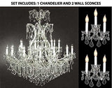"Set Of 3 - 1 Maria Theresa Crystal Chandeliers Lighting H 52"" W 46"" And 2 Wall Sconce Crystal Lighting H14"" x W11.5"" Trimmed With Spectra (Tm) Crystal - Reliable Crystal Quality By Swarovski - 1Ea-Cs/52/2Mt/24+1 + 2Ea-Cs/3/2813-Sw"