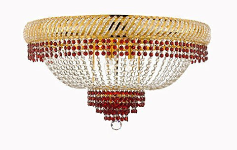 "Flush French Empire Crystal Chandelier Lighting Trimmed With Ruby Red Crystal Good For Dining Room Foyer Entryway Family Room And More H18"" X W27"" - F93-B74/Cg/Flush/448/12"
