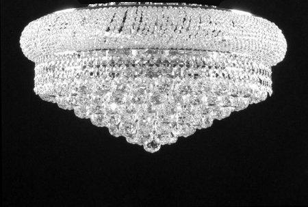 "Swarovski Crystal Trimmed Chandelier! Flush French Empire Crystal Chandelier Chandeliers Lighting H 15"" X W 24"" - G93-SILVER/FLUSH/542/15SW"