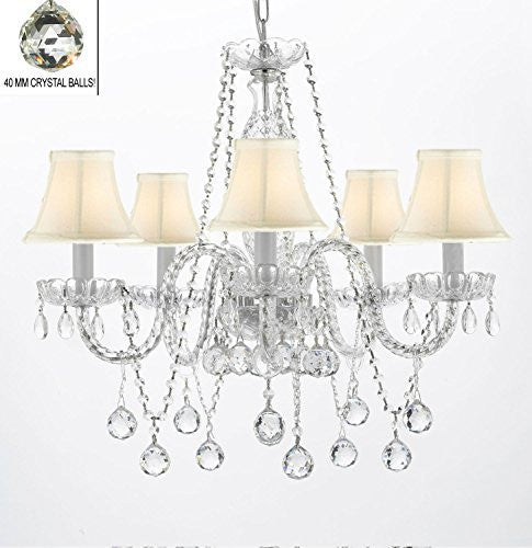 "Authentic All Crystal Chandeliers Lighting Empress Crystal (Tm) Chandeliers With Crystal White And Shades H27"" X W24"" - G46-Whiteshades/B37/384/5"