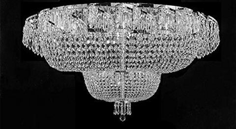 "Flush French Empire Crystal Chandelier Lighting H 27"" X W 36"" - J10-Flush/Cs/26084/32"