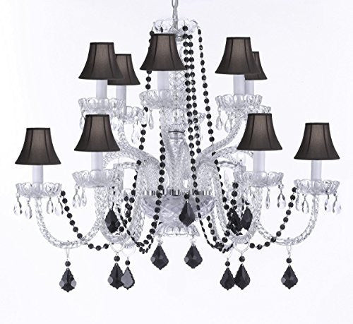 Empress Crystal (Tm) Chandelier Lighting With Black Color Crystal And Black Shades - F46-B2/385/6+6-Blachshades/Black Crystal