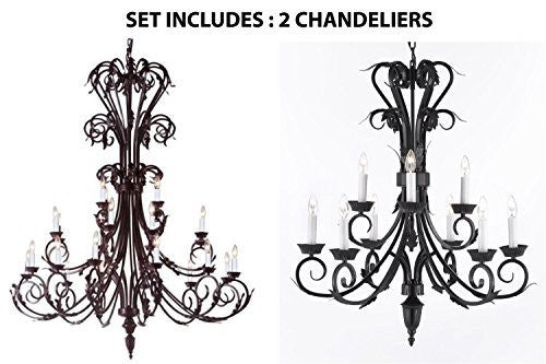 "Set Of 2 - 1-Large Foyer / Entryway Wrought Iron Chandelier 50"" Inches Tall H50"" X W30"" And 1-Wrought Iron Chandelier H 30"" W 26"" 9 Lights - 1Ea-724/24 + 1Ea-724/6+3"
