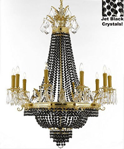 "French Empire Crystal Chandelier Chandeliers H40"" W30"" - Dressed With Jet Black Crystals Perfect For Dining Room / Entryway / Foyer / Living Room - F93-B80/1280/10+5"