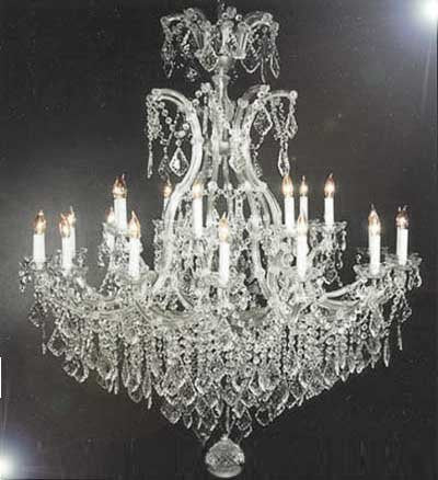 "Chandelier Crystal Chandeliers Lighting Dressed W/ Swarovski Crystal H52"" W46"" - A83-Silver/52/2Mt/24+1Sw"