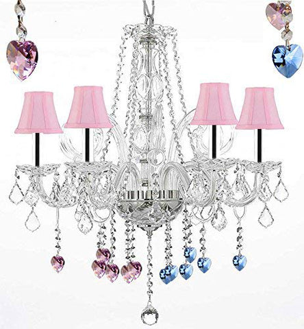 "Crystal Chandelier Chandeliers Lighting with Blue and Pink Crystal Hearts and Pink Shades w/Chrome Sleeves H25"" x W24"" - G46-B43/PINKSHADES/B85/B21/385/5"
