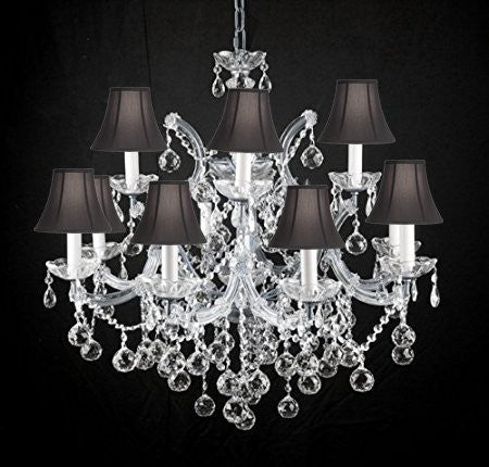 Swarovski Crystal Trimmed Chandelier New Lighting Chandelier Chandeliers W/ Crystal Balls 28 X 30 With Black Shades - A83-Sc/Blackshades/Cs/B6/21532/12+1Sw