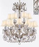 "Swarovski Crystal Trimmed Maria Theresa Chandelier Lights Fixture Pendant Ceiling Lamp Dressed With Large Luxe Crystals H30"" X W28"" - Good For Dining Room Foyer Entryway With Whiteshades - J10-Cg/Whiteshades/B90/26077/18Sw"
