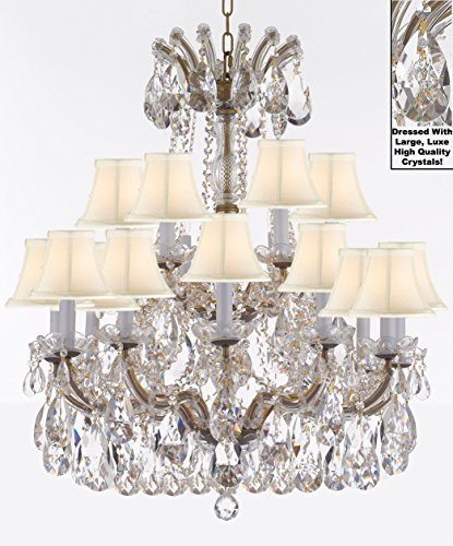 "Maria Theresa Chandelier Crystal Lighting Fixture Pendant Ceiling Lamp With Large Luxe Diamond Cut Crystals H30"" X W28"" -Good For Dining Room Living Room And More W/ Whiteshades - A83-Cg/Whiteshades/B90/152/18Dc"