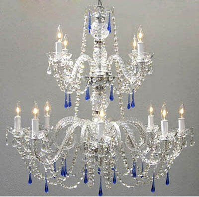 Swarovski Crystal Trimmed Chandelier! Authentic All Crystal Chandelier With Blue Crystals! - A46-387/8+4/Blue Sw