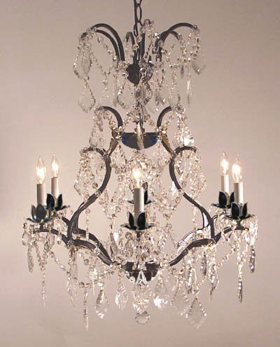"Swarovski Crystal Trimmed Chandelier Wrought Iron Crystal Chandelier H29"" X W23"" - A83-52/3030/6Sw"