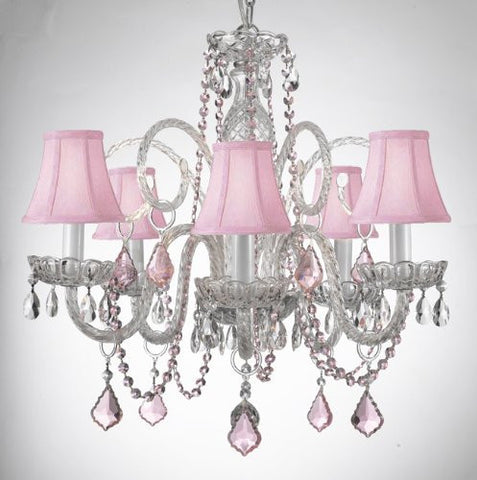 Crystal Chandelier Lighting With Pink Color Crystal And Shades - A46-Pinkb2/Pinkshades/385/5