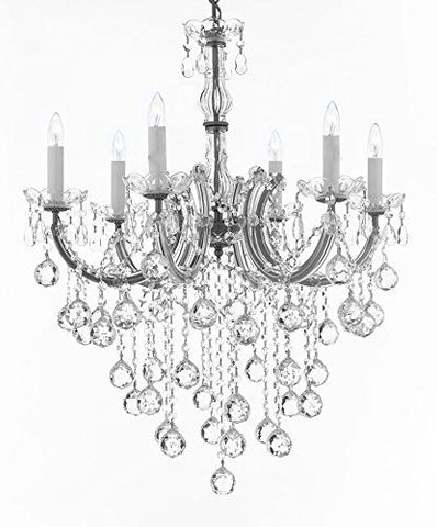 "Maria Theresa Chandelier Crystal Lighting Chandeliers H 30"" W 22"" - J10-B61/Silver/26067/6"