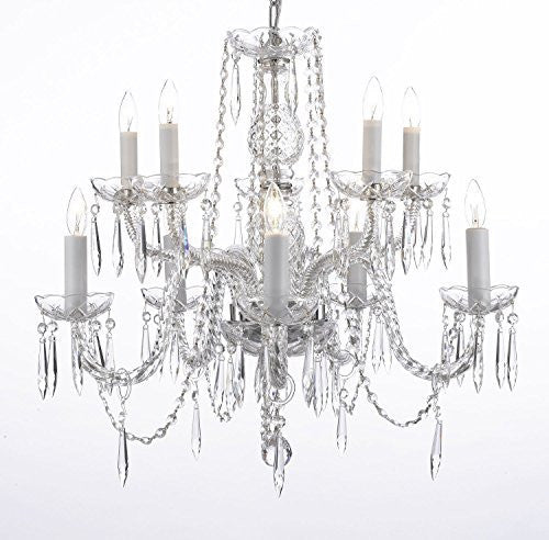 "Crystal Icicle Waterfall Chandelier Lighting Dining Room Chandeliers H25"" X W24"" 10 Lights Swag Plug In-Chandelier W/ 14' Feet Of Hanging Chain And Wire - G46-B15/B10/1122/5+5"