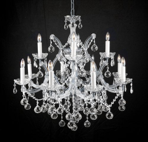 Swarovski Crystal Trimmed Chandelier New Lighting Chandelier W/ Crystal Balls 28 X 30 - A83-Silver/Balls/21532/12+1 Sw