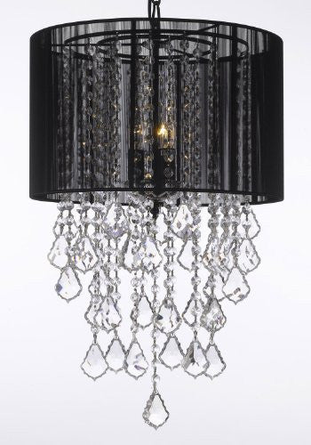 "Crystal Chandelier With Large Black Shade H24"" X W15"" Trimmed With Spectra (Tm) Crystal - Reliable Crystal Quality By Swarovski - G7-B7/Black/3/26029/3Sw"