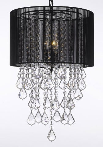 "Crystal Chandelier With Large Black Shade H24"" X W15"" - G7-B7/Black/3/604/3"