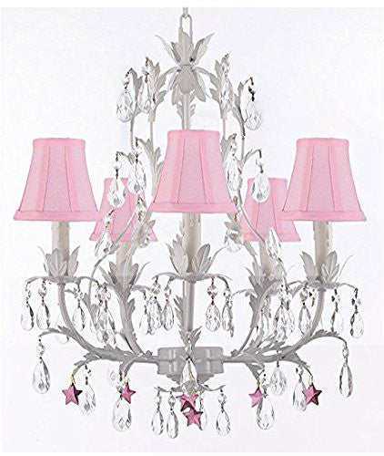 White Wrought Iron Floral Chandelier Lighting W/ Purple Stars And Shades - J10-Sc/Pinkshade/B51/White/26016/5