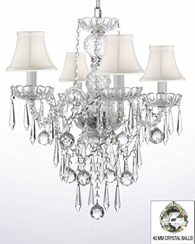 All Crystal Chandelier W/ 40Mm Crystal Balls & Crystal Icicles - G46-Whiteshades/B29/3/275/4