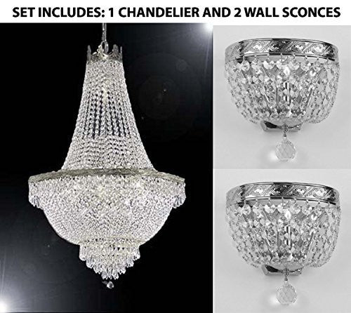"Set Of 3 - 1 French Empire Crystal Chandelier Lighting H30"" X W24"" And 2 Empire Crystal Wall Sconce Lighting W 9.5"" H 9"" D 5"" - 1Ea-Cs/870/9 + 2Ea-Wallscone/3/3 Ch W/C"