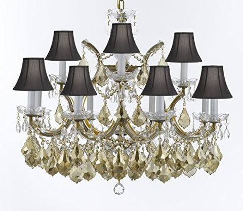 "Maria Theresa Chandelier Crystal Lighting H 22"" X W 28"" W/ Golden Teak Crystal W/ Black Shades Good For Dining Room, Entryway , Living Room - A83-SC/BLKSH/B2/GOLDENTEAKGOLD/1534/12+1"
