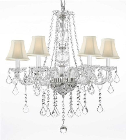 "Crystal Chandelier Lighting With White Shades H25"" X W24"" - G46-Whiteshades/B26/384/5"