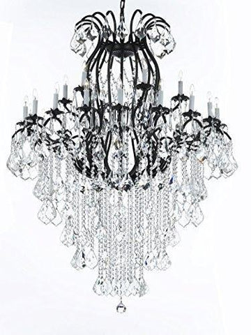 "Swarovski Crystal Trimmed Wrought Iron Crystal Chandeliers Lighting Empress Crystal (TM) H60"" W46"" Perfect for an Entryway or Foyer! - A83-B12/3034/18+6SW"