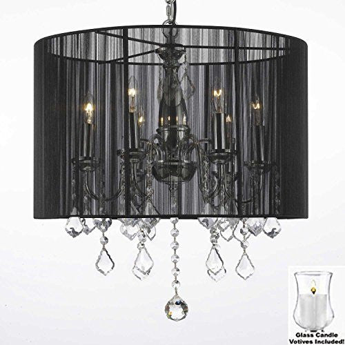 "Crystal Chandelier With Large Black Shade And Votive Candles H 19.5"" X W 18.5"" - For Indoor / Outdoor Use Great For Outdoor Events Hang From Trees / Gazebo / Pergola / Porch/Patio/Tent - F7-B31/1124/6"